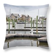 Bald Head Island Marina  Throw Pillow