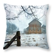 Barn In Winter Throw Pillow