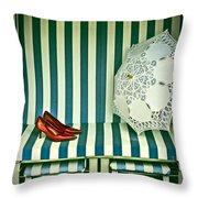 Beach Chair Throw Pillow by Joana Kruse