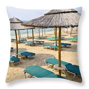Beach Umbrellas On Sandy Seashore Throw Pillow by Elena Elisseeva