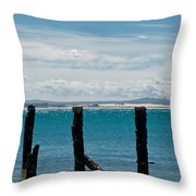 Beautiful Rotten Mooring On A Beach Throw Pillow