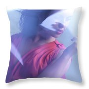 Beauty Photo Of A Woman In Shining Blue Settings Throw Pillow