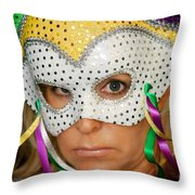 Blond Woman With Mask Throw Pillow by Henrik Lehnerer
