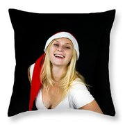 Blonde Woman With Santa Hat Throw Pillow