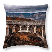 Bridge Over Autumn Throw Pillow