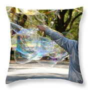Bubble Boy Of Central Park Throw Pillow