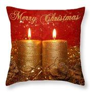2 Candles Christmas Card Throw Pillow
