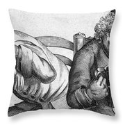 Caricature Of Two Alcoholics, 1773 Throw Pillow