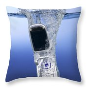 Cell Phone Dropped In Water Throw Pillow