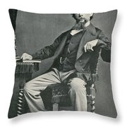 Charles Dickens, English Author Throw Pillow by Photo Researchers