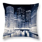 Chicago River Buildings At Night Throw Pillow