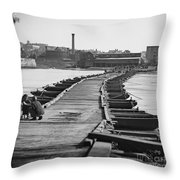 Civil War: Pontoon Bridge Throw Pillow