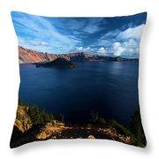 Crater Lake Blues Throw Pillow