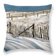 Drifting Snow Along The Beach Fences At Nauset Beach In Orleans  Throw Pillow