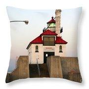 Duluth Mn Lighthouse Throw Pillow