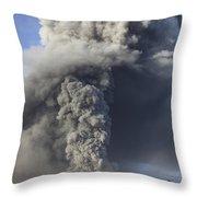Eruption Of Ash Cloud From Mount Bromo Throw Pillow