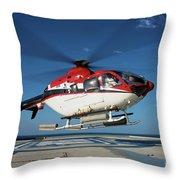 Eurocopter Ec135 Utility Helicopter Throw Pillow