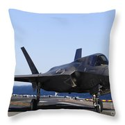 F-35b Lighnting II Variants Land Aboard Throw Pillow