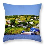 Fishing Village In Newfoundland Throw Pillow