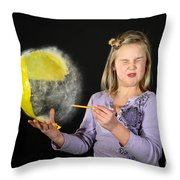 Girl Popping A Balloon Throw Pillow
