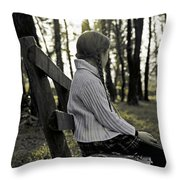 Girl Sitting On A Wooden Bench In The Forest Against The Light Throw Pillow