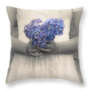 Girl With Hydrangea Throw Pillow by Joana Kruse