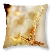 Golden Christmas Stars Throw Pillow