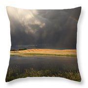 Hail Storm And Rainbow Throw Pillow