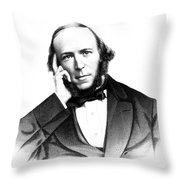 Herbert Spencer, English Polymath Throw Pillow by Science Source