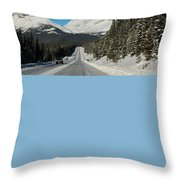 Highway In Winter Through Mountains Throw Pillow