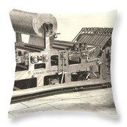 Hoe Web Printing Press Throw Pillow