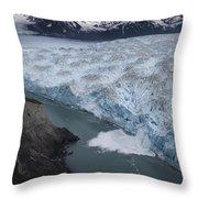 Hubbard Glacier Encroaching On Gilbert Point Throw Pillow