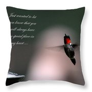 Hummingbird Card Throw Pillow