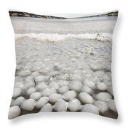 Ice Forming On Lake Throw Pillow
