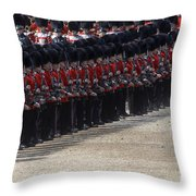 Irish Guards March Pass During The Last Throw Pillow by Andrew Chittock