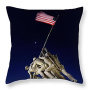 Iwo Jima Memorial At Dusk Throw Pillow