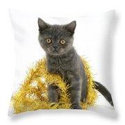 Kitten With Tinsel Throw Pillow