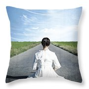 Lady On The Road Throw Pillow