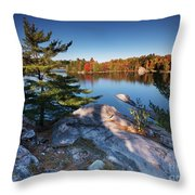 Lake George At Killarney Provincial Park In Fall Throw Pillow