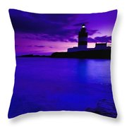 Lighthouse Beacon At Night Throw Pillow