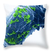 Lymphocyte With Hiv Cluster Throw Pillow