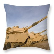 M1 Abrams Tanks At Camp Warhorse Throw Pillow