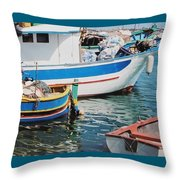 Maltese Harbor Throw Pillow