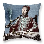 Man Smoking Opium Throw Pillow by Science Source