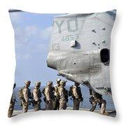 Marines Board A Ch-46e Sea Knight Throw Pillow