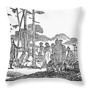 Missionary And Native Americans Throw Pillow