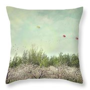 Orchard Of Apple Blossoming Tees Throw Pillow