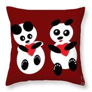 2 Pandas In Love Throw Pillow