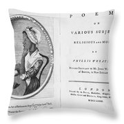 Phillis Wheatley, African-american Poet Throw Pillow by Photo Researchers