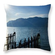 Pier In Backlight Throw Pillow